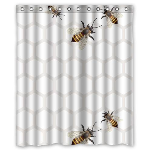 Amazon Special Bee Honeycomb Pattern Waterproof Bathroom DecorPolyester Fabric Shower Curtains With Five Bees60w X 72h Home Kitchen