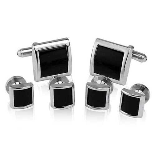 Cufflinks and Studs Set for Tuxedo - Formal Black with Shiny Silver Trimming by Men's Collections (cs1)