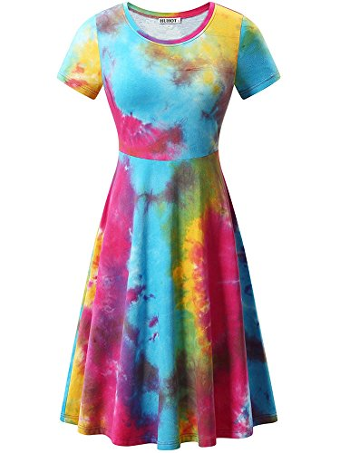 Casual Tiedye1 Round Flared Neck HUHOT Sleeve Women Midi Dress Short Summer CvnYPqt