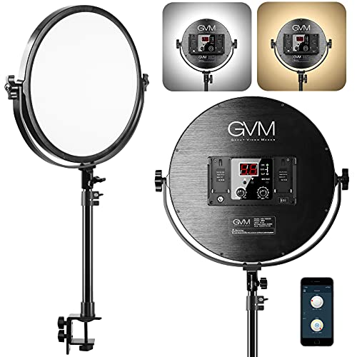 GVM Desk Mount LED Video Light, 10'' Round Key Light with Built-in Diffuser and LCD Display, Bi-Color Professional Light for Game/Studio/Streaming/YouTube Video Shooting, APP Control CRI 97+