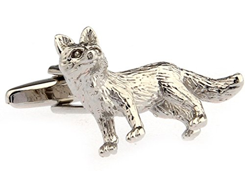 MRCUFF Fox Pair Cufflinks in a Presentation Gift Box & Polishing Cloth