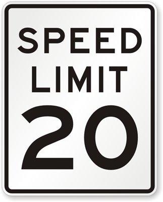速度制限20 MPH、ダイヤモンドグレード反射サイン、80 milアルミニウム、30
