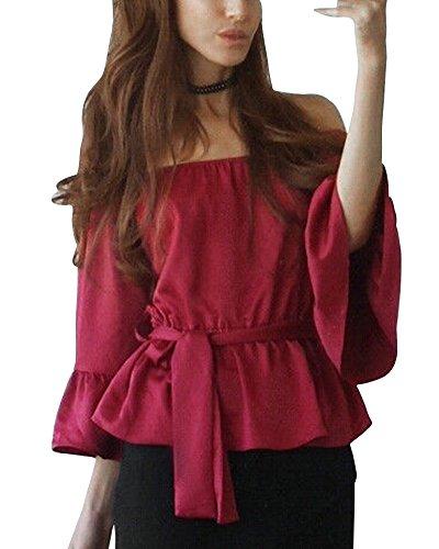 Blusa Camiseta Casual Elegante Verano Playa Cuello Barco Mangas Largas para Mujer Vino Rojo