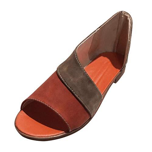 (Women's Casual Sandal Ladies Fashion Peep Toe Ankle Mixed Colors Sandals Roman Color Block Shoes Orange)