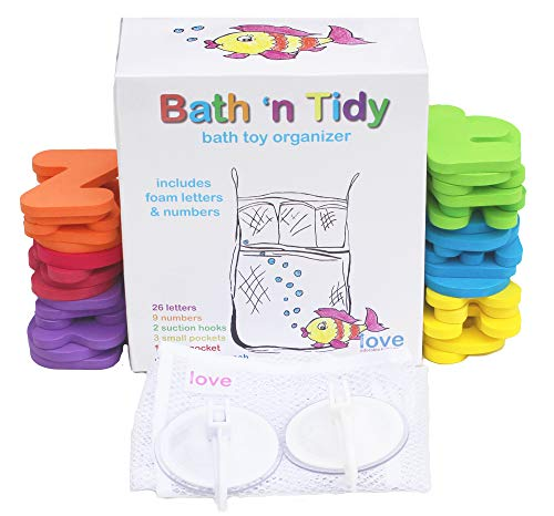 Bath Toy Organizer with 36 Foam Letters & Numbers, for Toddler BATH TIME FUN. Mold Resistant MESH ORGANIZER + Locking Hooks, Makes Clean Up Easy as They Drip Dry in the Tub ()