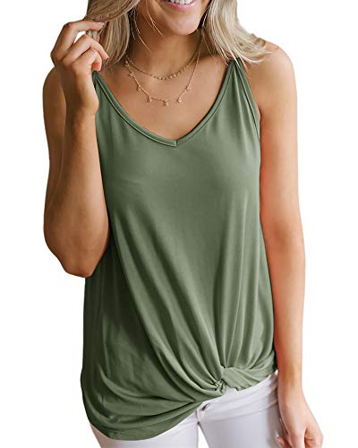 Dellytop Womens Tank Tops V Neck Sleeveless Twist Knot Shirts Spaghetti Strap Camisoles (Army Green, X-Large)