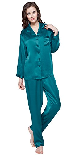 LILYSILK Women's Summer Silk Pajamas Full Length Long 22 Momme 100% Mulberry Silk 14-16/X-Large, Dark Teal by LilySilk