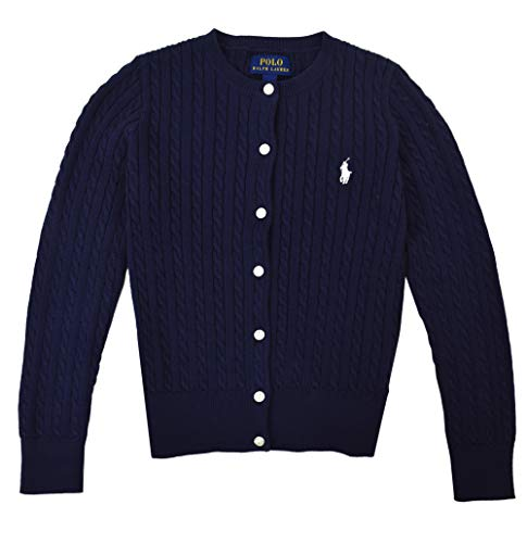 (Polo Ralph Lauren Girls Buttoned Down Cable Knit Crew-Neck Sweater Navy Blue (Medium (8-10)))