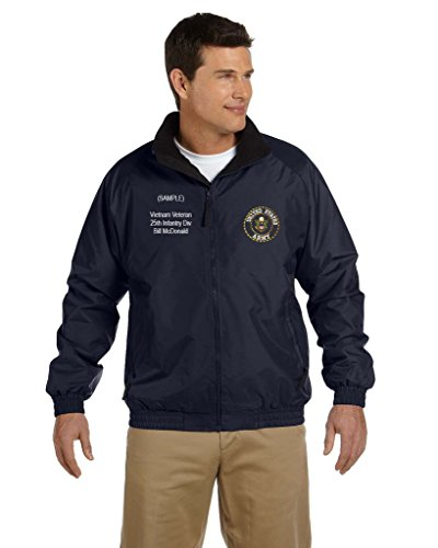 US Army Personalized Custom Embroidered Fleece Jacket - Navy Custom Embroidered Nylon Jacket