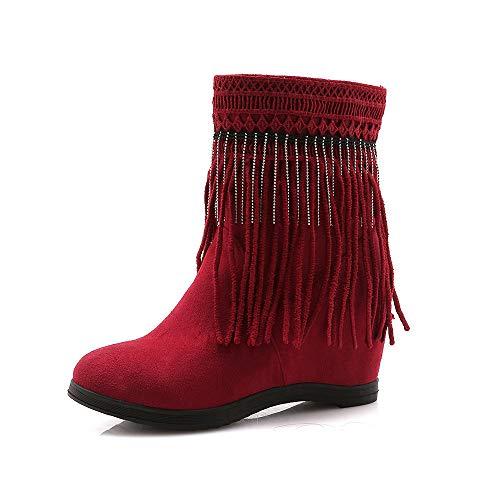 Femmes 6 Hiver Neige De Rouge Wsr Nues Grande Franges Chaudes Taille Automne Et Bottes À 5cm Pour Plates Mates 84qE4S