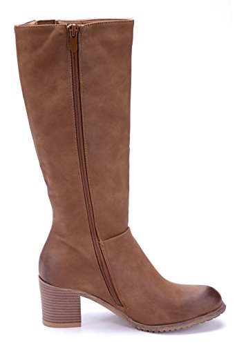 Blockabsatz 6 Schuhtempel24 cm Boots Schuhe Klassische Damen Stiefeletten Camel Stiefel gPw1BYPq