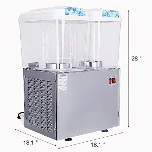Commercial Juice Dispenser Machine, 2 Tanks 9.5 Gallon, KUPPET Fruit Juice Dispenser For Cold Drink, Plastic/Stainless Steel Finish Beverage Dispenser, 18 Liter Per Tank, Cold 280W by KUPPET (Image #1)