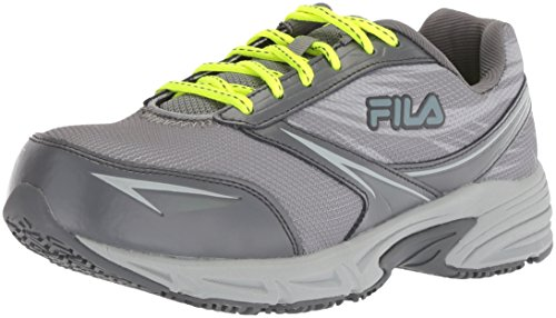 Fila Women's Memory Reckoning 8 Slip Resistant Steel Toe Running Shoe Food Service, Monument/Castlerock/Safety Yellow, 10 B US