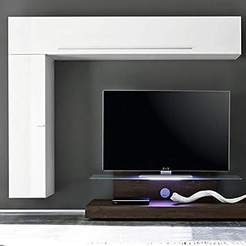 NOUVOMEUBLE Mueble de TV Colgante LED Blanco y Color wengué Negro: Amazon.es: Hogar