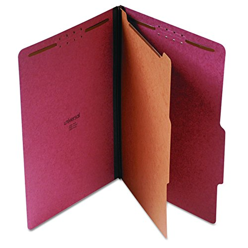 (Universal Pressboard Classification Folder, Legal, Four-Section, Red, 10/Box (10260))