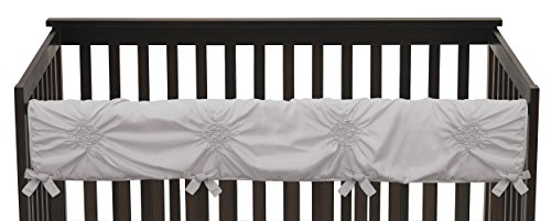 Solid Color Grey Shabby Chic Long Front Crib Rail Guard Baby Teething Cover Protector Wrap for Harper Collection by Sweet Jojo Designs (Grey Harper)