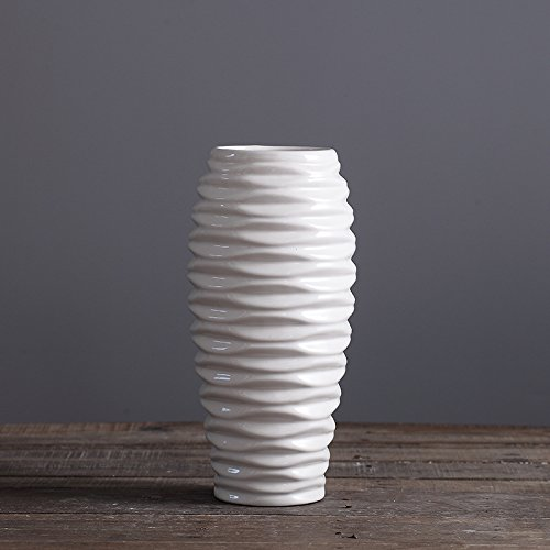 D'vine Dev 11 Inches Tall Wave Design Hand Glazed White Ceramic Vase, Ideal for Fresh Bouquets, Floral Arrangement, Greenery or Silk Flowers, Everyday Home Decoration Vase and Special (Wave Tall Vase)