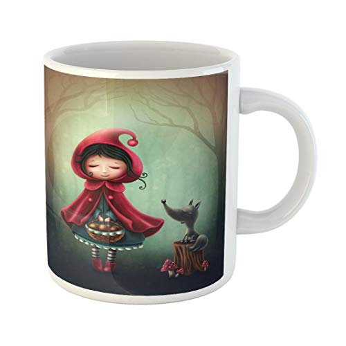 Semtomn Funny Coffee Mug Green Fairy Little Red Riding Hood and the Wolf 11 Oz Ceramic Coffee Mugs Tea Cup Best Gift Or Souvenir -
