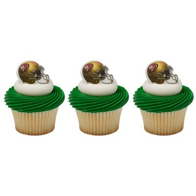 24 San Francisco 49ers Football Helmet Cupcake Rings -