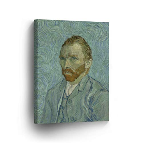Vincent Van Gogh Self Portrait, September 1889 Canvas Print Decorative Art Wall Décor Artwork Wrapped Wood Stretcher Bars - Ready to Hang -%100 Handmade in The USA - 12x8
