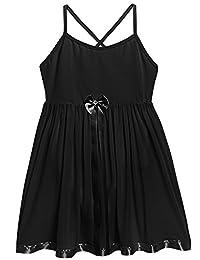 Arshiner Kids Girls V-Neck Sleeveless Backless Straps Ballet Leotard Dress