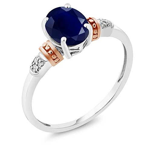 925 Sterling Silver and 10K Rose Gold Ring Blue Sapphire with Diamond Accent (1.79 cttw, Available in size 5,6,7,8,9)