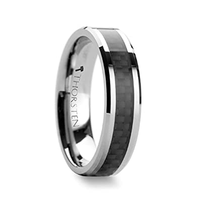 Thorsten Maximus Tungsten Carbide Wedding Band Ring with High Tech Black Carbon Fiber Inlay Polished Edges 6mm Width from Roy Rose Jewelry