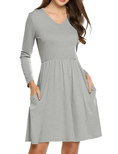 Waist Banded Dress - Hotouch Women's Long Sleeve Pockets Casual Swing T-Shirt Banded-Waist Dresses(Gray, L)