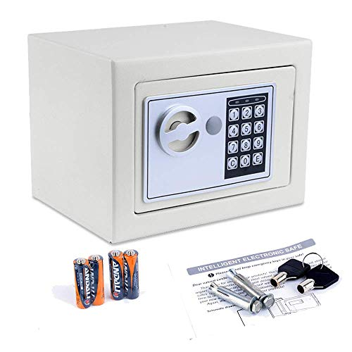 Nakey Digital Electronic Safe Security Box, Small Wall-Anchoring Safe for Home & Office, Cabinet Safe with Keypad for Money, Jewelry, Cash, Gun - with Batteries and Tools