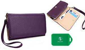 Purple Universal Women's Wallet phone case wristlet for LG Optimus F3 Plus Bonus Neviss Luggage Tag