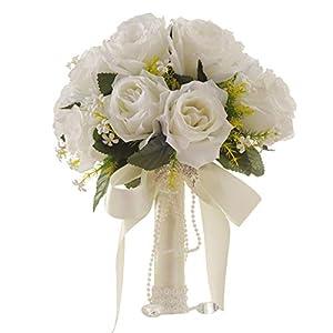 Yamalans 1 Bouquet Plastic Artificial Rose Flower Ribbon Bridal Bridesmaid Wedding Bouquet Artificial Flowers Bride Photo Props Ornament 77