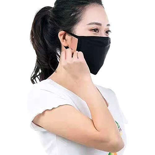 3Pcs Dust Masks Reusable Activated Carbon Cotton Filters Breathable Safety Respirator for Outdoor Cycling Black Washable