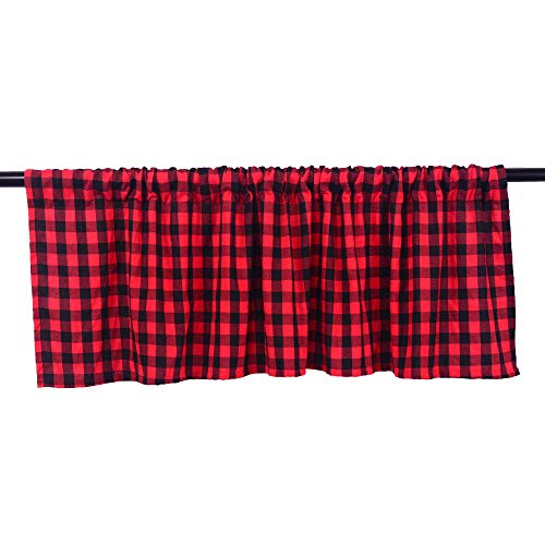 HTFD Black and Red Buffalo Check Valance Window Treatment Curtains for Kitchen, 53x16inch, Pack of 2 (Breakfast Nook Country Ideas)