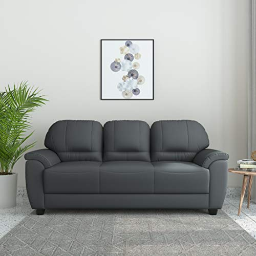 Amazon Brand – Solimo Tulip Leatherette 3 Seater Sectional Sofa (Grey)