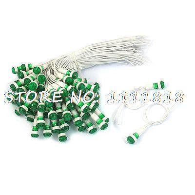 Fevas AC 220V Green Bolb Illuminated Indicator Light 100 Pcs
