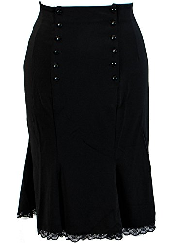 Plus Size Black Gothic Double Button Lace Rockabilly Pinup Skirt (4X)