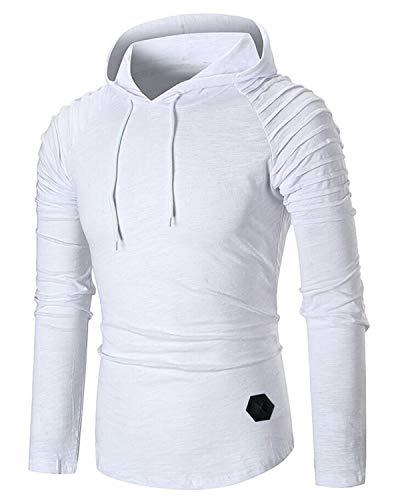 KENANCY Men's Pullover Hoodie Pleated Raglan Long Sleeve Hooded T-Shirt Slim Fit Sweatshirt