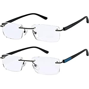 Reading Glasses Set of 2 Rimless Lightweight Readers Ultra Comfort Quality Glasses for Reading Men and Women +1.25