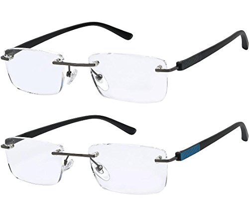 Reading Glasses Set of 2 Rimless Lightweight Readers Ultra Comfort Quality Glasses for Reading Men and Women - Different Style Glasses