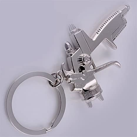 2 PCS SPRAY PAINT Gun Silver Metal KEY CHAIN Ring Keychain NEW
