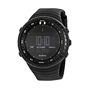 Suunto Core All Black Digital Display Quartz Watch, Black Elastomer Band, Round 49.1mm Case