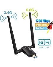 Flybiz Chiavetta WiFi 1200Mpbs, Adattatore USB 3.0 WiFi, Dual Band Wireless Adapter WiFi con Antenna 5dBi (300Mbps/2.4GHZ, 867Mbps/5.8GHZ) 802.11ac, per Windows XP/Vista/7/8/10, Linx2.6X; Mac OS X