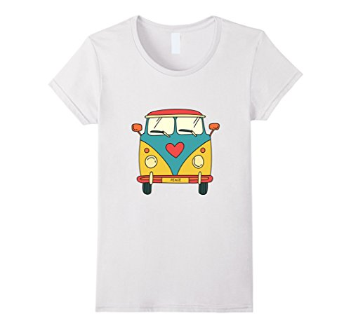 Womens Vintage Hippie Bus - Cute Van T-Shirt Medium (Vintage Womens Hippie Shirt)