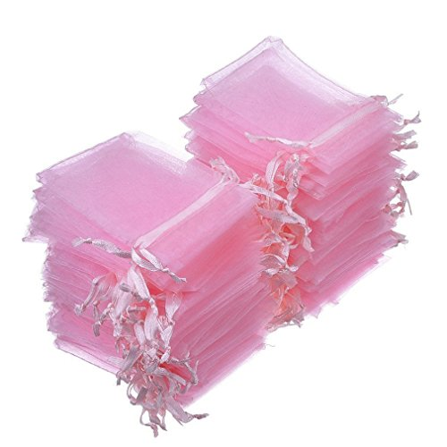 Dealglad 50pcs Drawstring Organza Jewelry Candy Pouch Christmas Wedding Party Favor Gift Bags (3.5x4.5