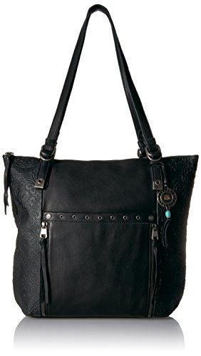 Embossed Front Pocket Tote Handbag (The Sak Ojai Tote, Black Souk Emboss)