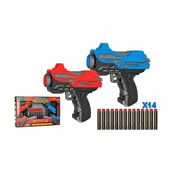 SHANBUYERS Twin Mini 2 High Speed and Long Range Bullet Gun Pistol Toy with 14 Soft Foam Bullets for Kids.