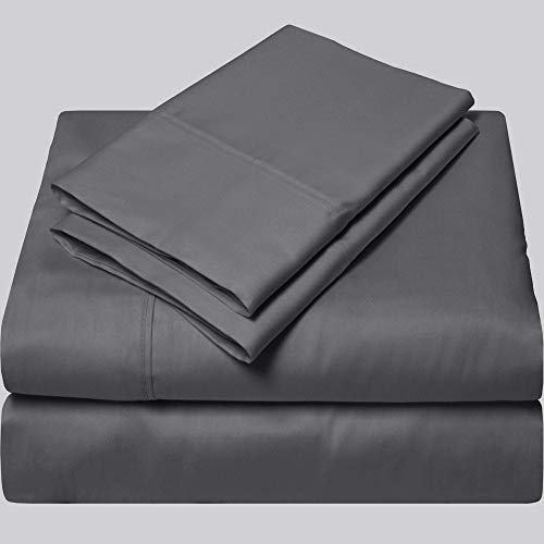 SGI bedding Queen Sheets Luxury Soft 100% Egyptian Cotton - Sheet Set for Queen Mattress Dark Gray Solid 600 Thread Count Deep Pocket