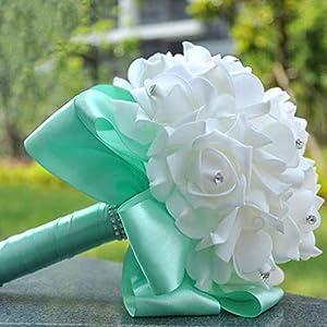 53bb83ebc6 Lady Night Beautiful Artificial Royal Blue Wedding Bouquet Mint ...