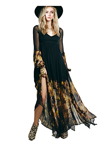 [CA Mode Women's Flower Chiffon Lined Long Maxi Party Beach Dress Black X-Large] (Goth Dress)
