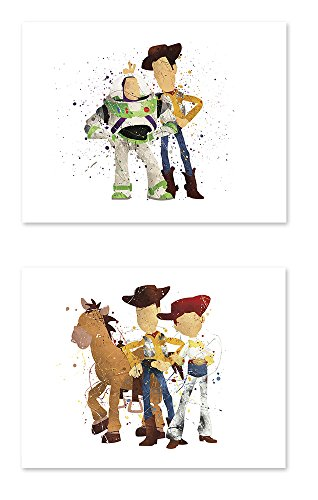 Toy Story 2 Poster - P38 Toy story poster - 8x10 art print Watercolor Painting Paper - Set of 2 - Great Room Nursery Decorations